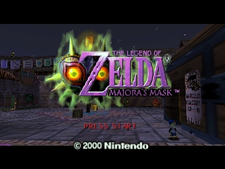 Captura de pantalla de título del videojuego The Legend of Zelda: Majoras Mask (Nintendo 64, 2000)