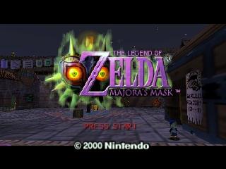 Captura de pantalla de título del videojuego The Legend of Zelda: Majoras Mask (Nintendo 64, 2000)