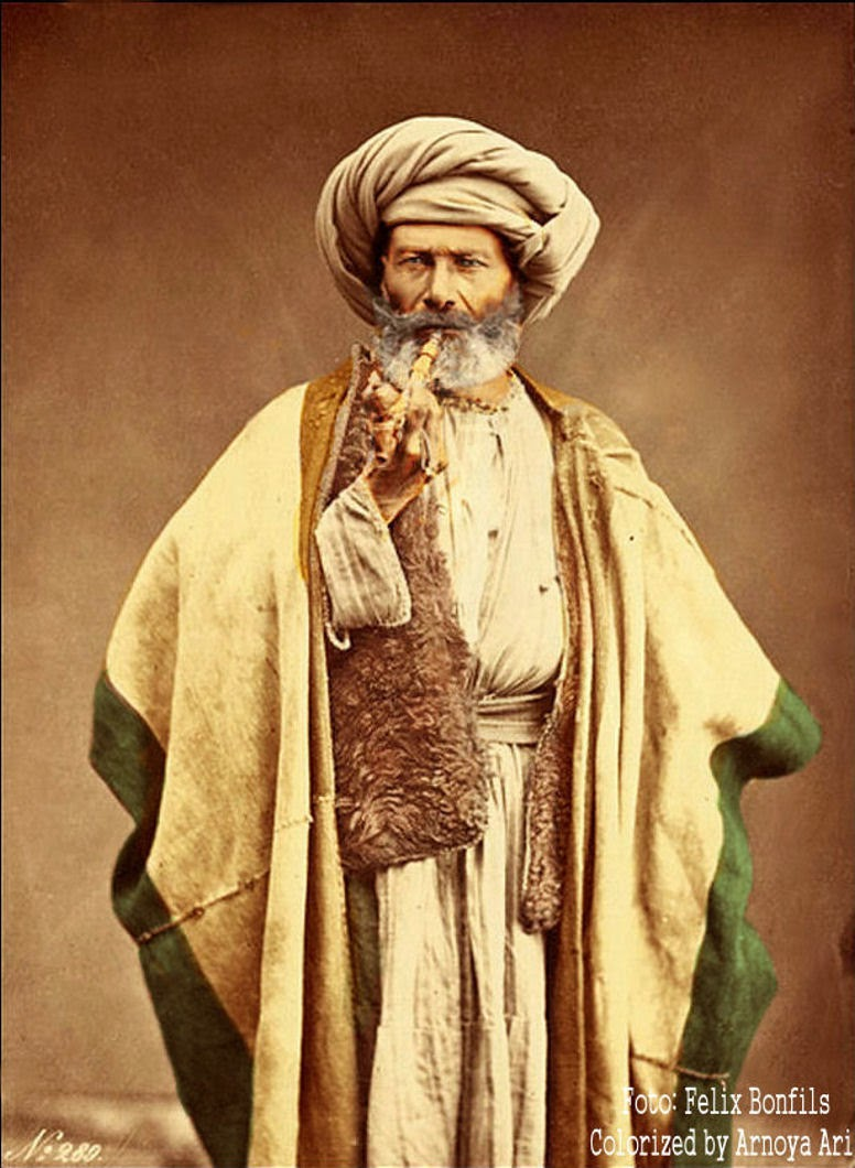 Arab man smoking pipe / Félix Bonfils,