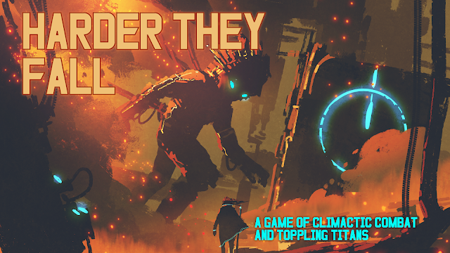 "The cover of Harder They Fall with a destroyed city and a large titan looking down at an individual person, with the text ""A game of climactic combat and toppling titans."""