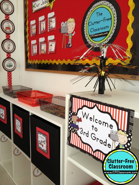 Are you planning a Hollywood themed classroom or thematic unit? This blog post provides great decoration tips and ideas for the best Hollywood theme yet! It has photos, ideas, supplies & printable classroom decor to will make set up easy and affordable. You can create a Hollywood theme on a budget!