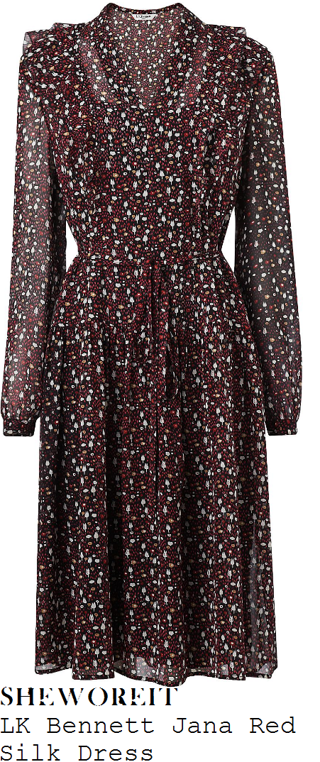 amanda-holden-lk-bennett-jana-mulberry-red-black-white-and-brown-abstract-woodland-floral-print-long-sleeve-v-neck-ruffle-frill-detail-high-waisted-semi-sheer-silk-midi-dress