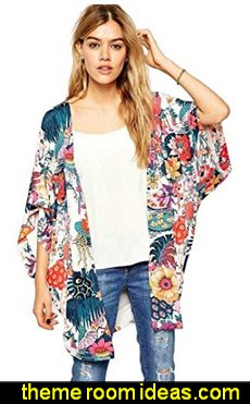 Franterd Women Casual Floral Print Loose Cardigan Chiffon Tops