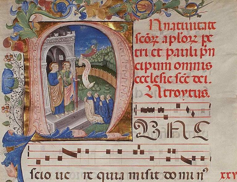 Iluminura representando São Pedro e São Paulo recebendo as almas dos monges na porta do Céu, Plimpton MS 040A, f1