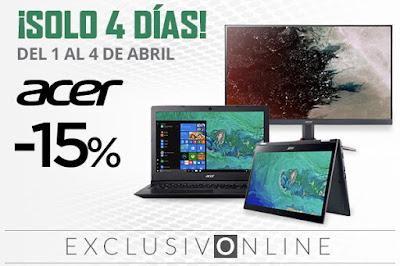 Top 5 ofertas ¡Solo 4 días! -15% ordenadores y monitores Acer de El Corte Inglés