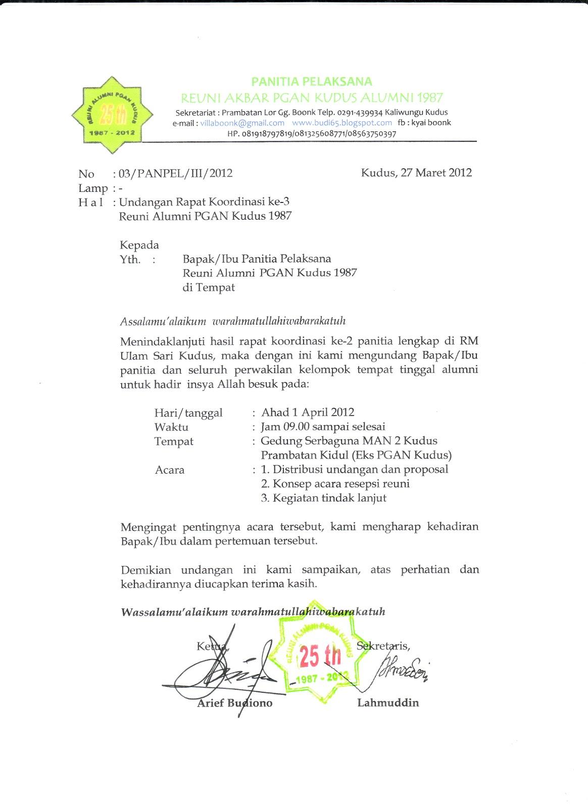 Contoh Surat Undangan Rapat Reuni Suratmenyurat Net