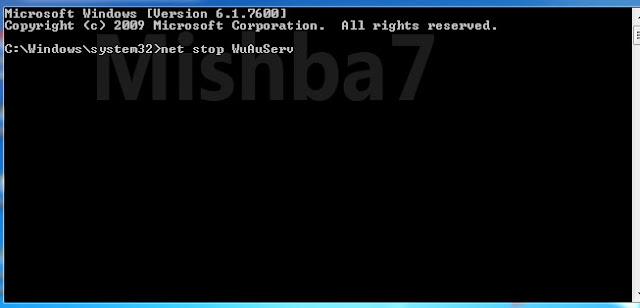 Screenshot tampilan Command Prompt beserta ketikkan net stop WuAuServ