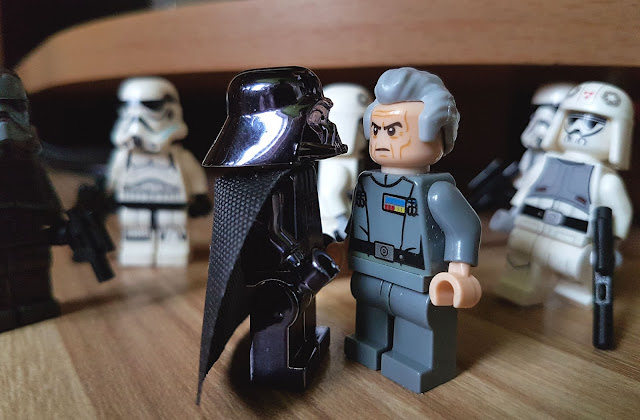 Grand Moff Tarkin, stormtroopers and Darth Vader, Death Star, Star Wars