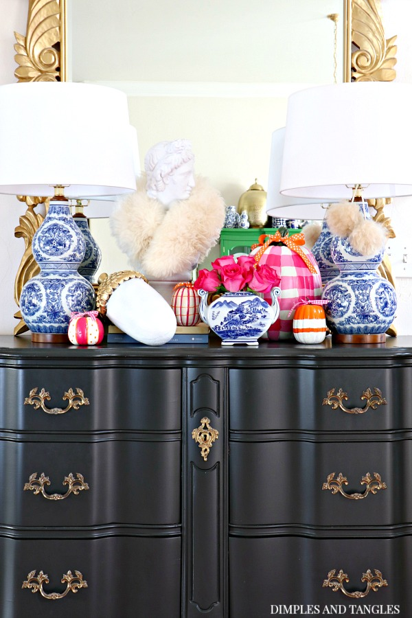 blue and white, blue and white lamps, lamps plus, painted pumpkins, black french provincial dresser, david bust