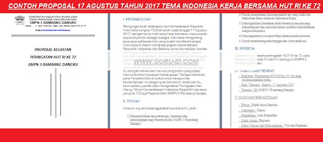 gambar Contoh Proposal 17 Agustus Doc Sesuai Tema Hut RI ke 72 Indonesia Kerja Bersama