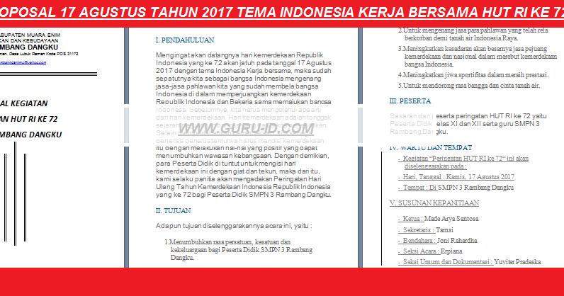 Proposal 17 Agustus 2019 Doc Tema Sdm Unggul Indonesia Maju Info Pendidikan Terbaru
