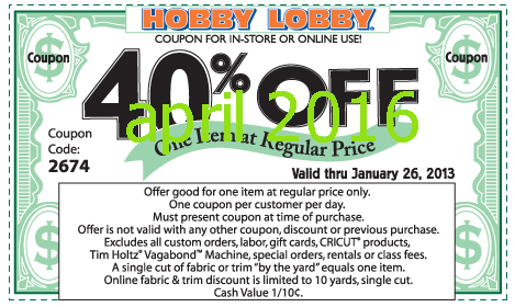 Hobby Lobby arts and crafts stores offer the best in project, party and home supplies. Visit us in person or online for a wide selection of products! Your coupon will be applied to the highest regular-price, eligible item in your cart. Print coupon to take in-store.