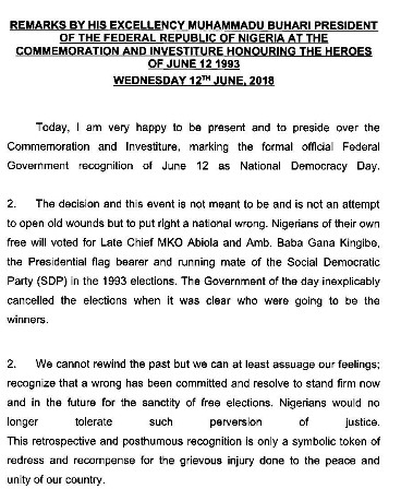 June 12: How it all went down, honoring Late Chief MKO Abiola, Baba Gana Kingibe, and Late Gani Fawehinmi with the highest National Award