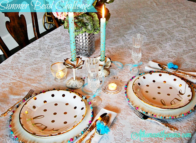 wedding, silver, decorative, beads, candles, teal, blue, pink