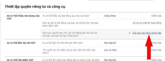 Chon gioi han bai dang truoc day de nguoi khac khong xem duoc thong tin