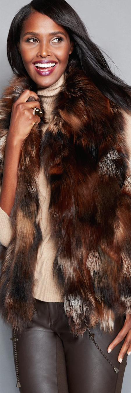 The Fur Vault Pieced Fox Fur Vest