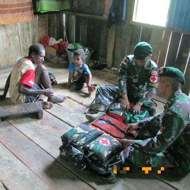 Giat Pengobatan Door To Door Satgas Pamtas di Perbatasan Diapresiasi Warga Papua