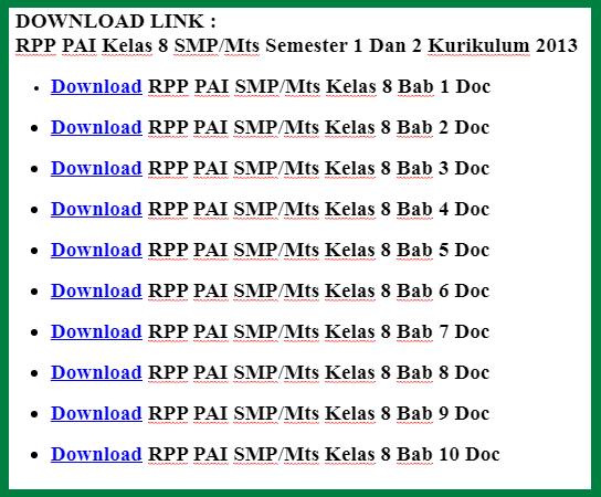 RPP PAI Kelas 8 Kurikulum 2013 Revisi Terbaru