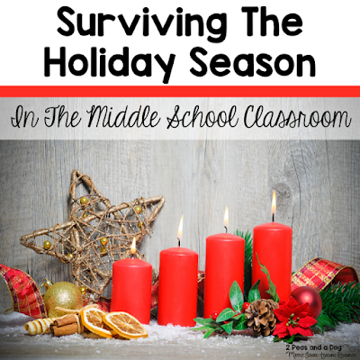 The Christmas season in the middle school classroom can become chaotic unless some planning is done to ensure routines are maintained while enjoying the season. Find some great ideas for staff and student gifts, as well as festive lessons and assignments from the 2 Peas and a Dog blog.