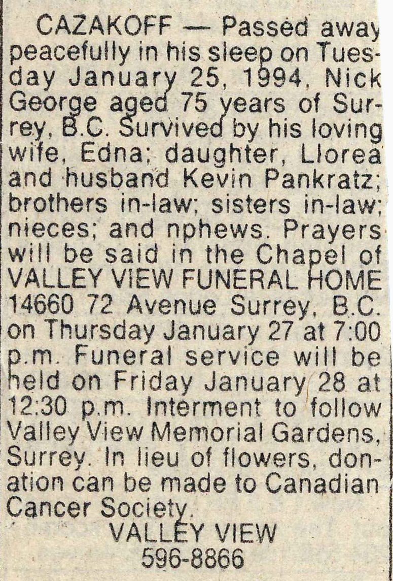 Obituary of Nick Cazakoff 1994