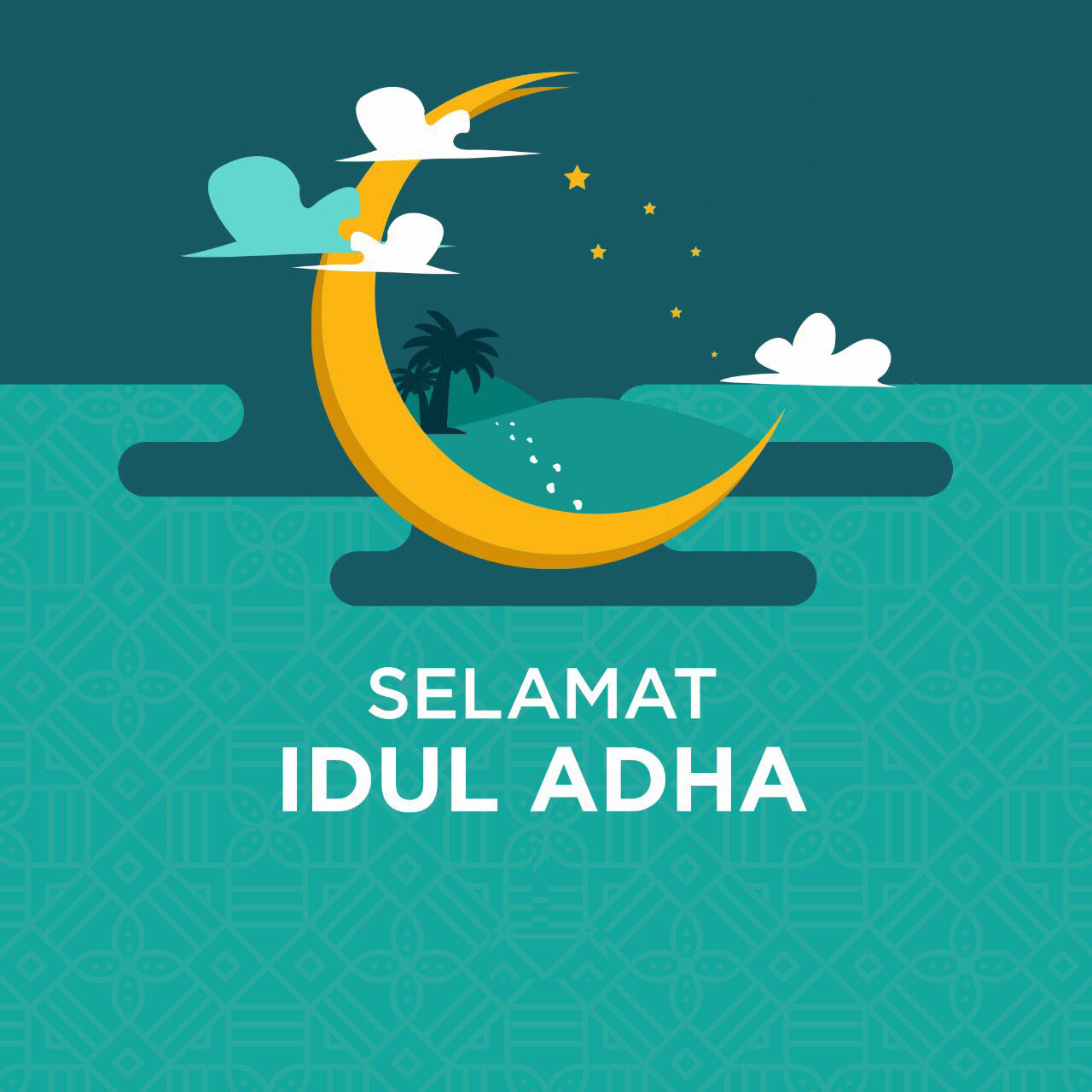 Gambar ucapan selamat hari raya idul adha terbaru 2020 1441 Hijriah bisa diedit, vector, gambar bulan warna kuning unik