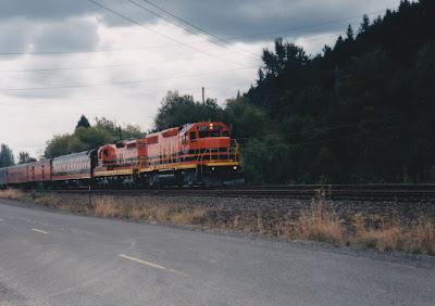 "Willamette & Pacific GP39-2 #2317 ""Tigard"" in Linnton, Oregon, on August 23, 1998"