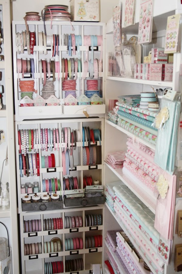 Fabric And Ribbon Storage That Would Be Suitable For A Craft Room Or Sewing  Room.