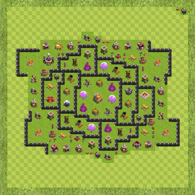 War Base Town Hall Level 9 By anonymous (TH-9 TH 9 Layout)