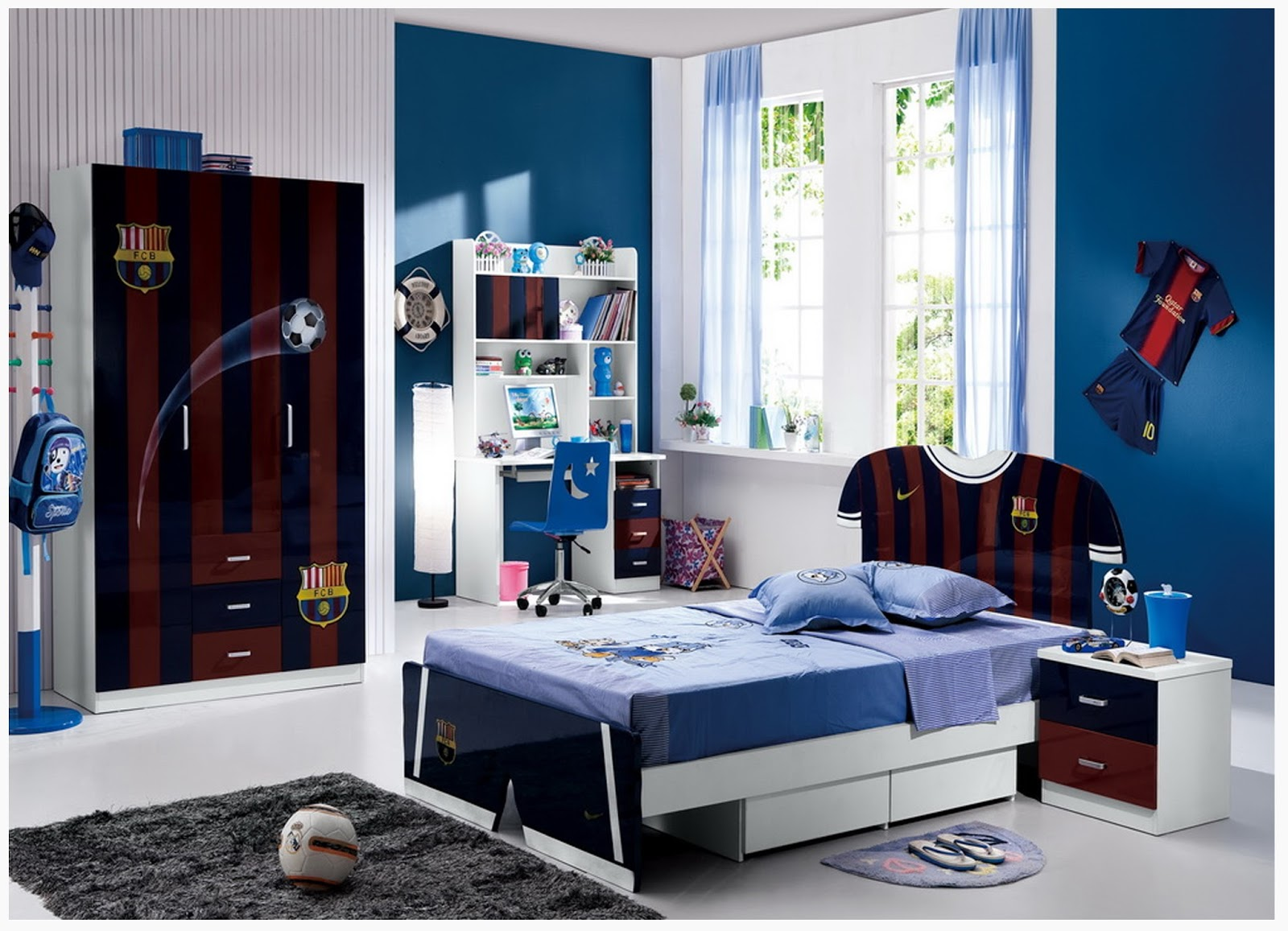 Cool Boys Bedroom Decoration With FC Barcelona Decor