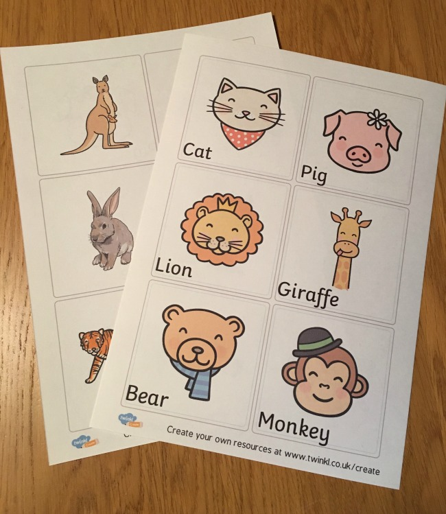 Two A4 sheets printed out with drawn animals