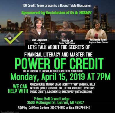 The Power of Credit is a financial health event on April 15, 2019 at Prince Hall on McDougall in Detroit.