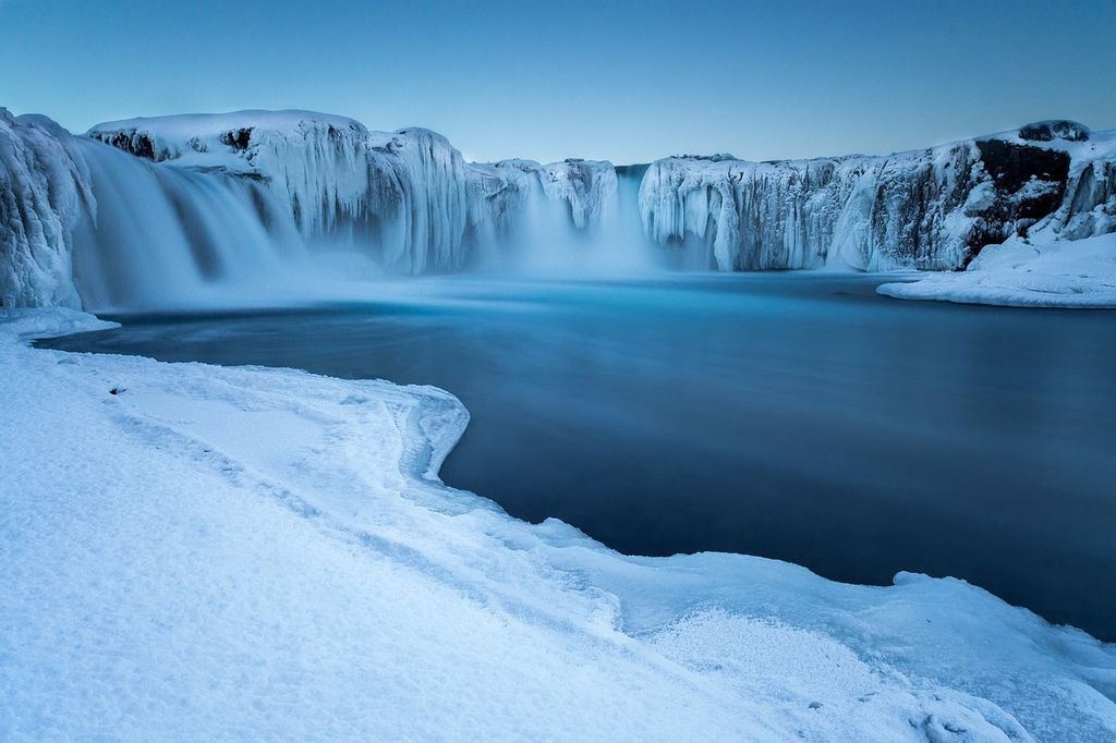 28. The Goðafoss - waterfall of the gods, freezes spectacularly in the Icelandic Winter