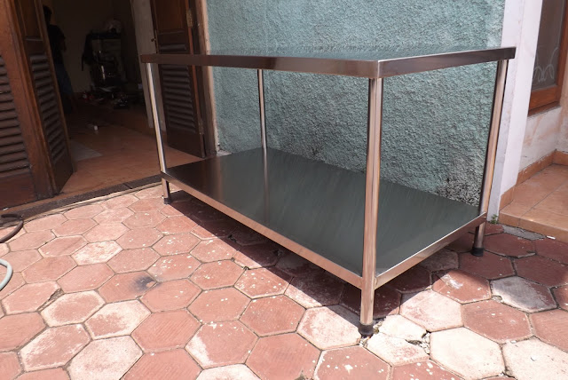 meja stainless steel 2 shelf