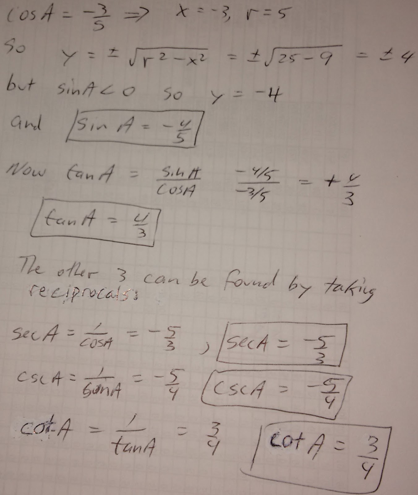 Examples Of Math Problems Find The Exact Value Of The Remaining Trigonometric Functions If Cosa