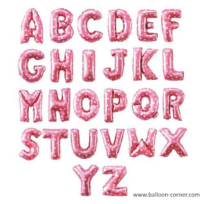 Balon Foil Huruf Warna Pink