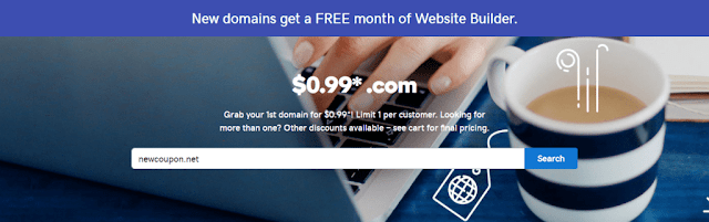 .99 Cent .COM Domain Name GoDaddy Coupon Codes 2018
