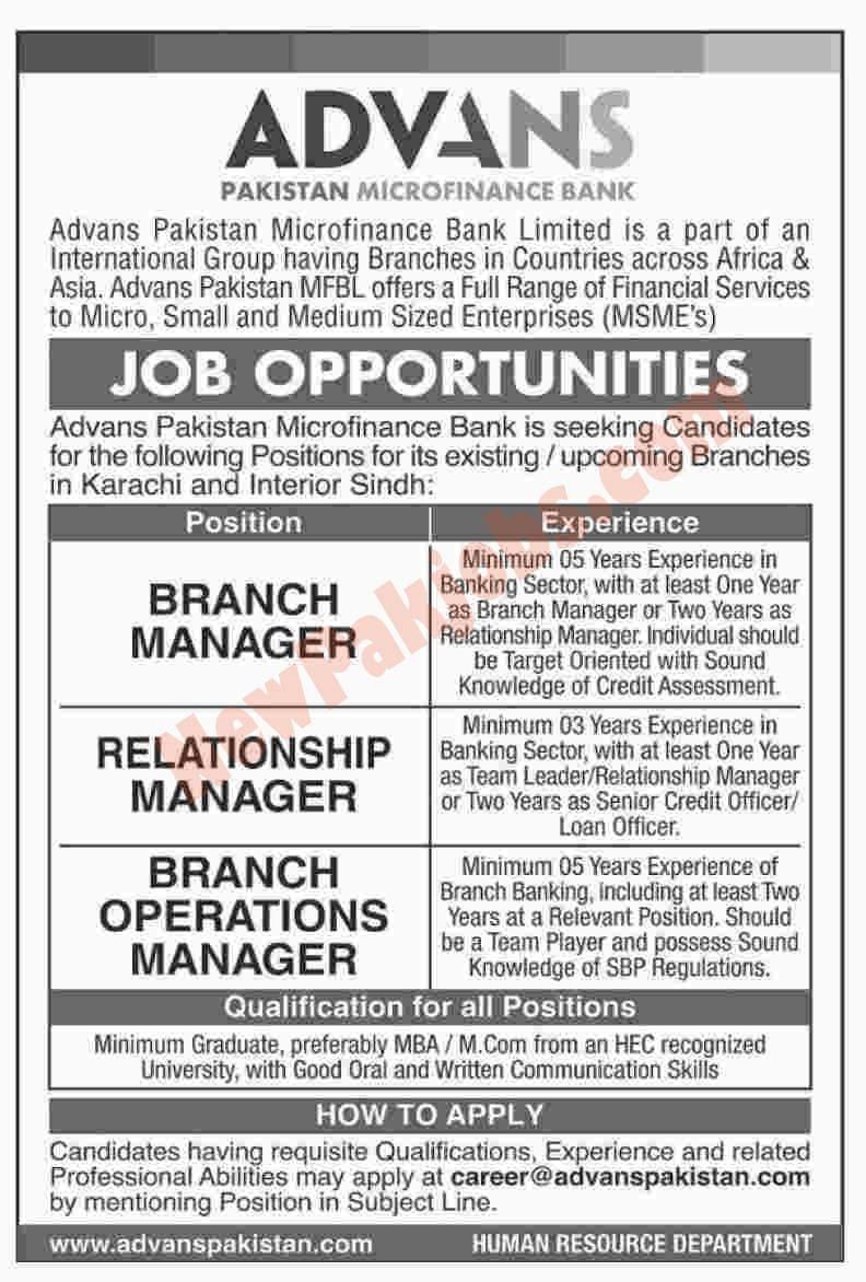 Advance Pakistan Micro Finance Bank jobs