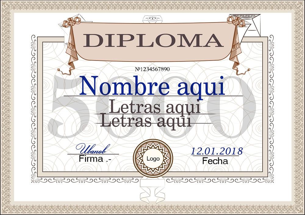 Plantilla psd para crear Diploma No7
