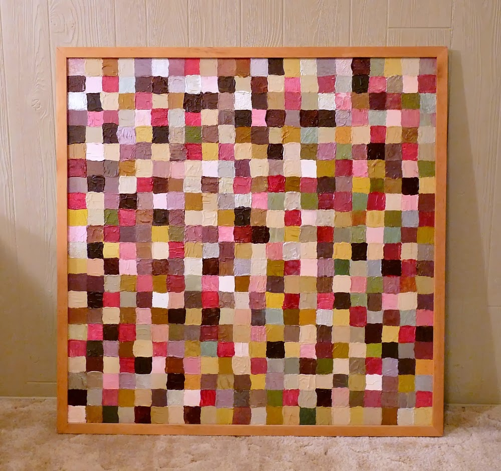 Pink squares abstract painting