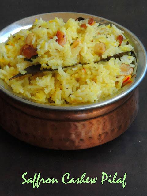Saffron Cashew Pilaf, Cashew Pilaf