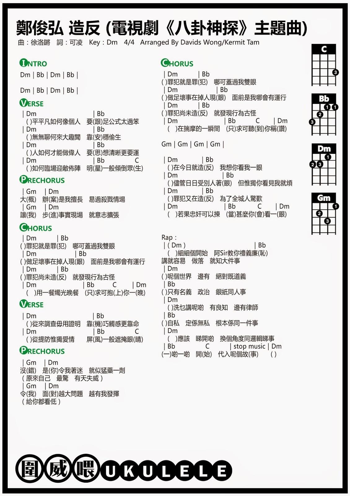 圍威喂 ukulele: 鄭俊弘 造反 (電視劇《八卦神探》主題曲) [ukulele譜]