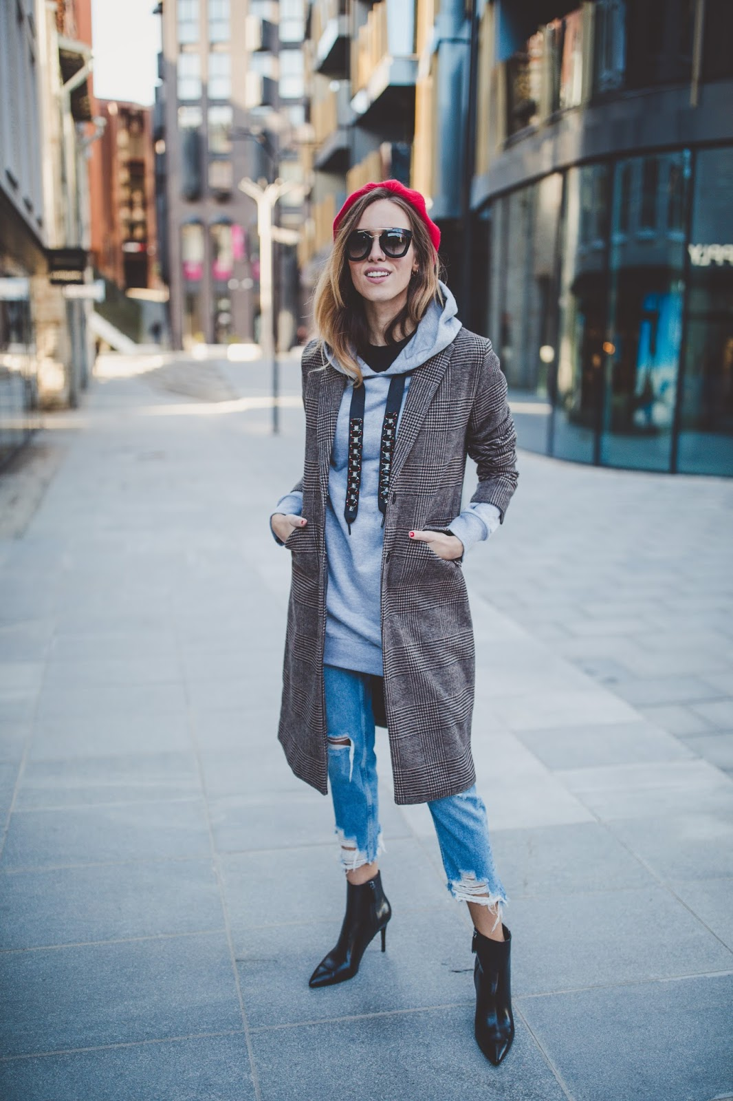 checked coat jeans outfit