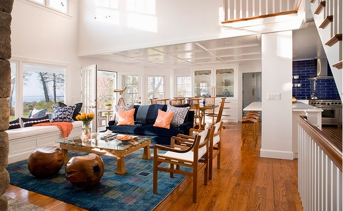 This Bright Waterfront Dining Coastal Contemporary Living Room And Area Replaced A 1980 S Interior That Featured Bulky Track Lights Formica Cabinetry
