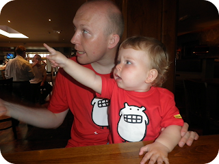 dad and son in matching T-shirts