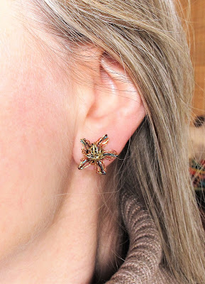 Gold earrings handmade, flower earrings studs