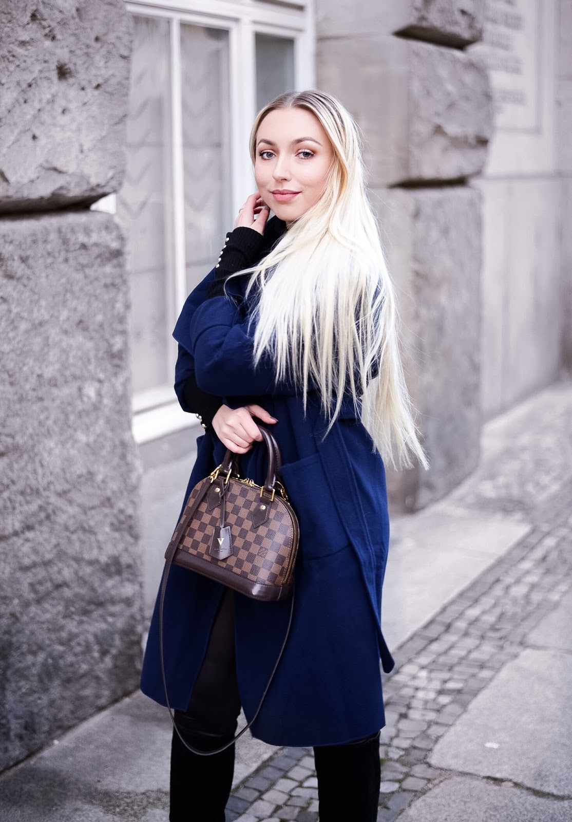 office wear for winter, shein navy blue coat, collar coat, bürotaugliche outfits