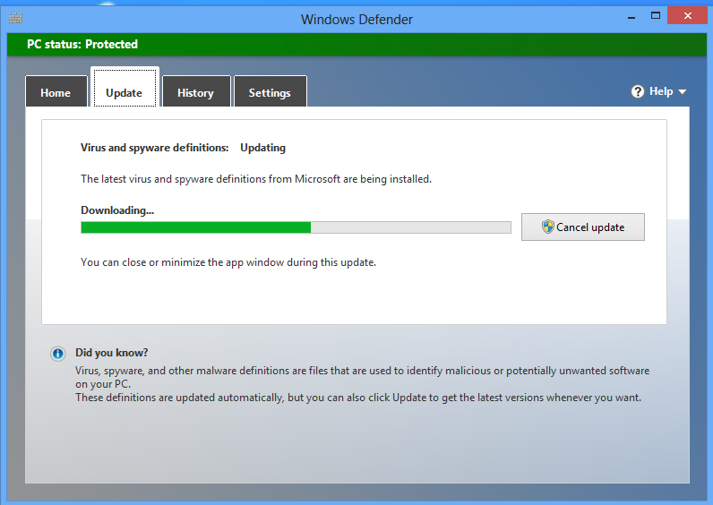 Update Windows Defender