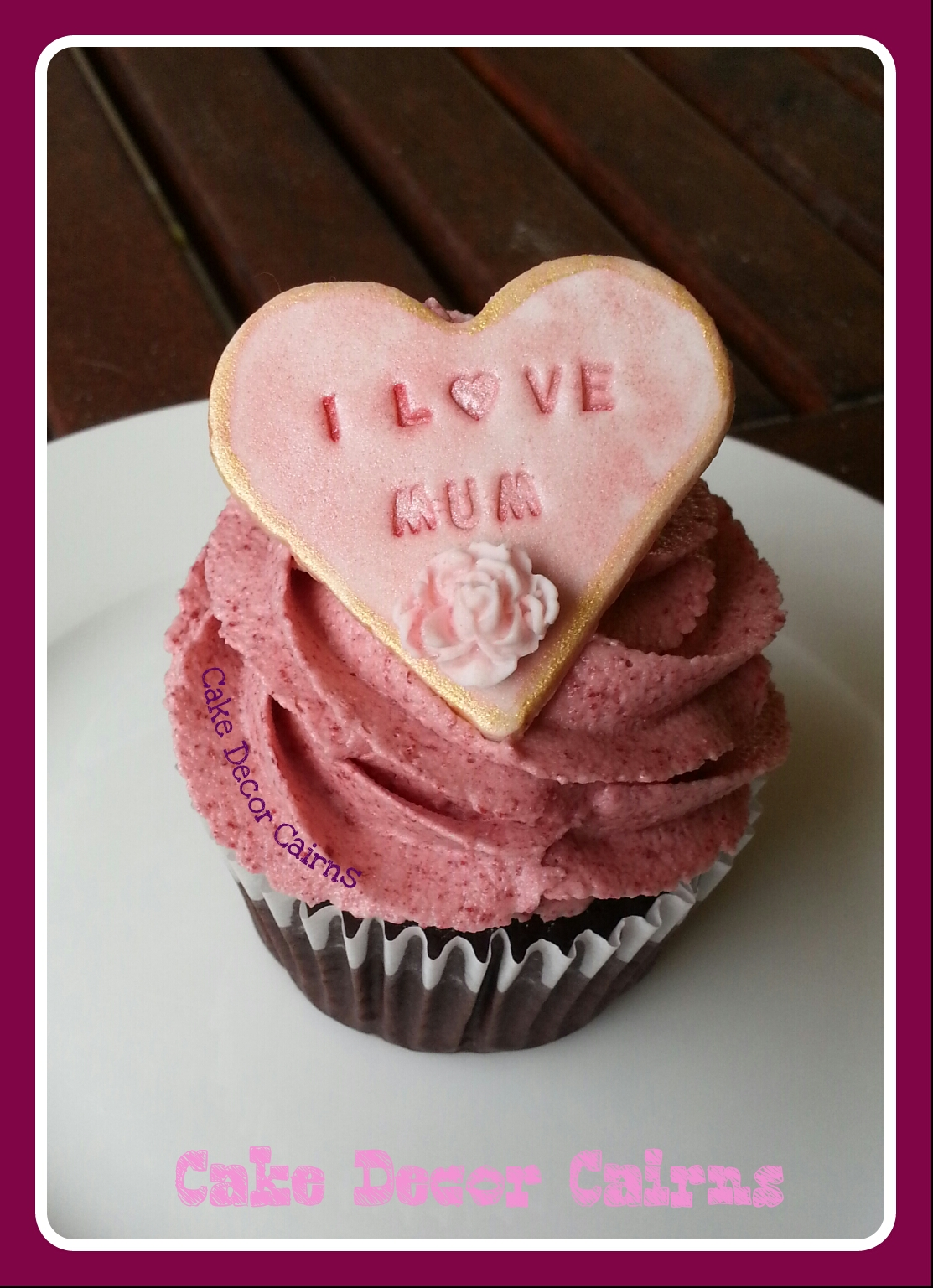 Mother's Day Chocolate  Cupcake with Pink Gold Fondant Heart Topper
