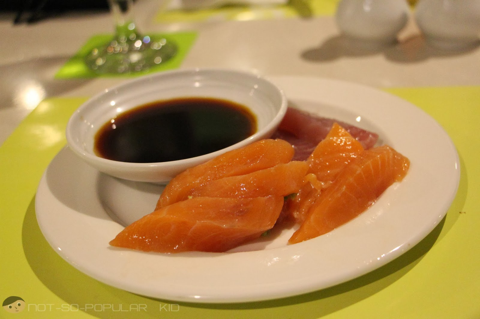 A plateful of Salmon and Tuna Sashimi - perfect for the night!