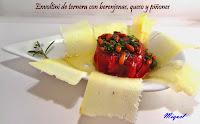 Envoltini de ternera con berenjenas, queso y piñones